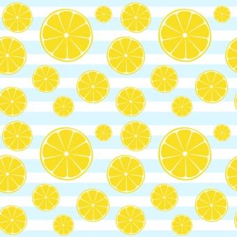 Lemons slices on blue white striped seamless pattern