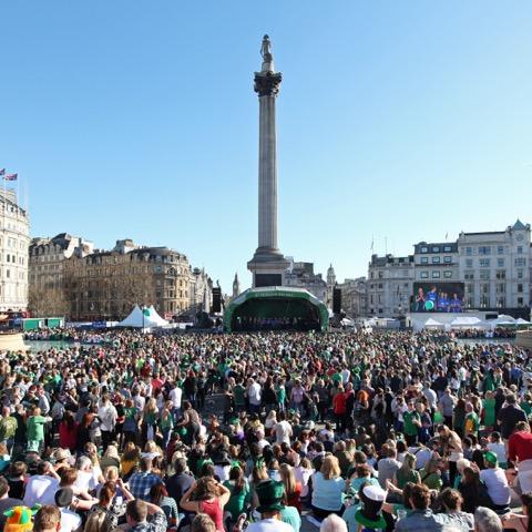 St Patrick's Day celebrations in Trafalgar Square, London