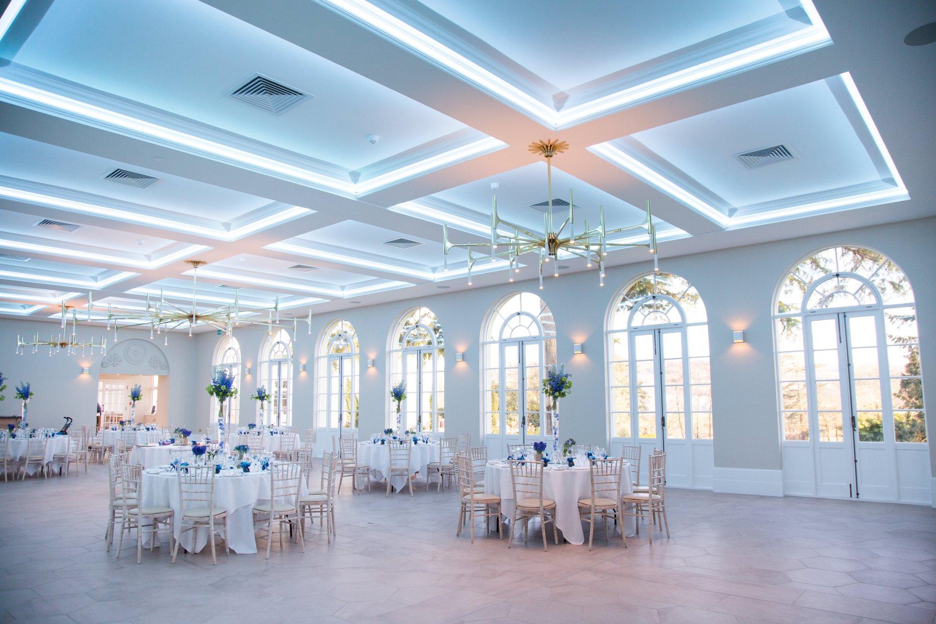 Inside the Orangery, set for a wedding