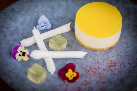 Lemon Meringue cheesecake with Elderflower jelly